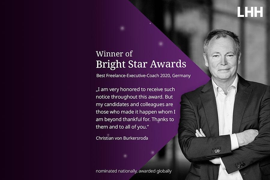 Gewinner des Bright Star Awards – Bester freier Executive-Coach 2020, Deutschland